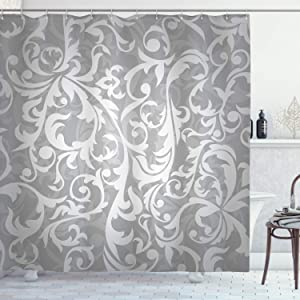 "Ambesonne Grey Shower Curtain, Victorian Style Large Leaf Floral Pattern Swirl Classic Abstract French Vintage Print, Cloth Fabric Bathroom Decor Set with Hooks, 70"" Long, Gray"