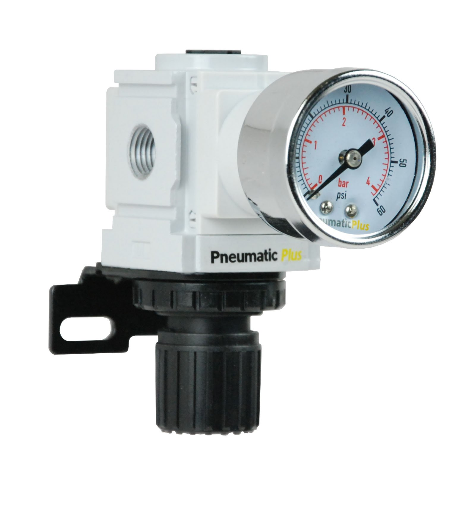 PneumaticPlus PPR2-N02BG-4 Miniature Air Pressure Regulator 1/4'' NPT - Gauge, Bracket, Low Pressure (3-60 PSI) by PneumaticPlus