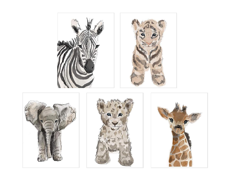 Nursery Baby Zoo Animals Unframed Prints- Set of 5 (8