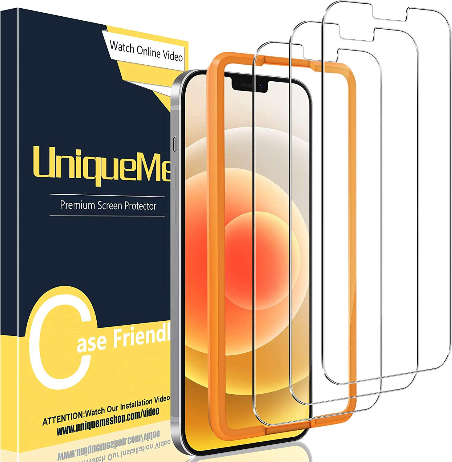 Easy Installation Frame Bubble Free UniqueMe Screen Protector for iPhone 12 Pro//iPhone 12 6.1 inch Tempered Glass 5G Anti-Scratch 3 Pack HD Clear