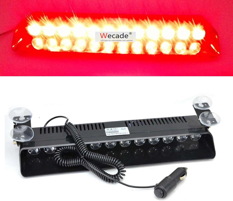 Wecade 12w 12 Leds Car Truck Emergency Strobe Flash Light Windshield Warning Light (Red)