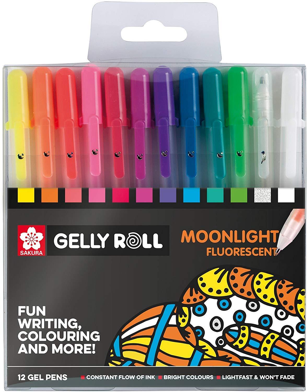Confezione da 12 pennarelli fluorescenti Sakura Gelly Roll Moonlight Fluorescent