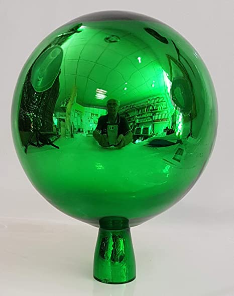 Bola esfera de jardín de cristal coloreado bola de jardin de colour verde con efecto especho soffiato a boca Diametro 15 cm altura 18 cm decoracion para jardin Oberstdorfer Glashütte: Amazon.es: Hogar