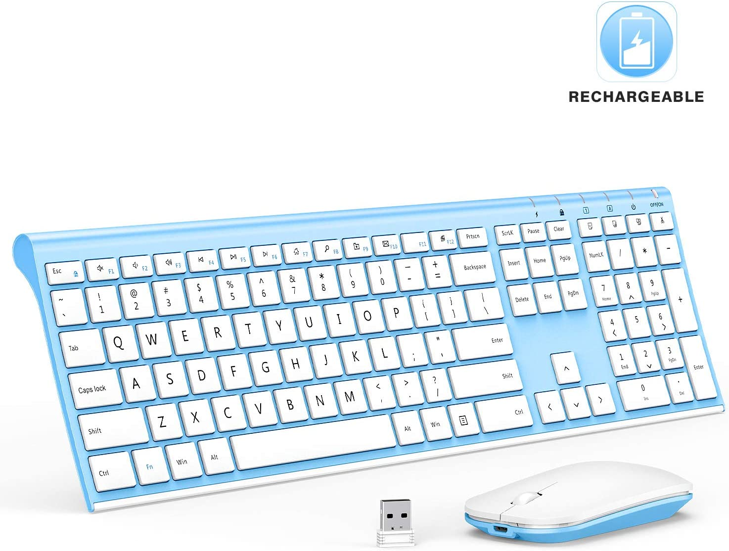 Compact Mouse Whisper-Quiet,Long Range Wireless Connection Full Sized Keyboard Color : Blue Ultra Slim Wireless Keyboard and Mouse Combo for Windows 2.4 GHz Wireless