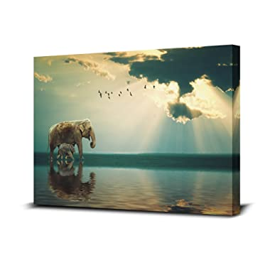Royllent Buddha Light Elephant Painting 1 Panel Framed Wall Art 16x24inch The Picture Print On Canvas For Home Decor Decoration Gift piece (Stretched By Wooden Frame,Ready To Hang) (RA-CP0086)