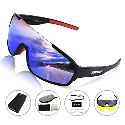 2089cd707ea4 ROCKNIGHT REVO Sports Sunglasses for Men Women with 2 Interchangeable Lenses  Cycling Running Driving Baseball Glasses