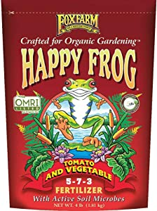 FoxFarm Happy Frog Garden Tomato and Vegetable Soil Dry Plant Fertilizer Mix for Outdoor Organic Plant and Garden Care, 4 Pound Bag