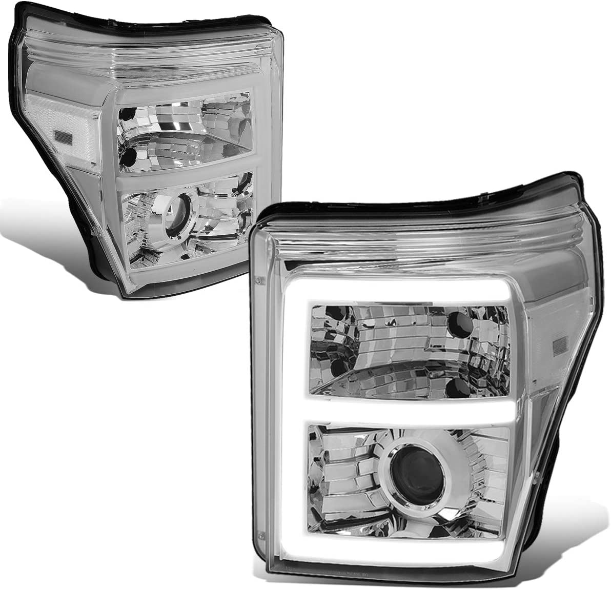 DNA Motoring HL-HPL-LED-FSU13-CH-CL1-T2 Pair LED E-Styling DRL Projector Headlight Lamp Set Replacement,Chrome