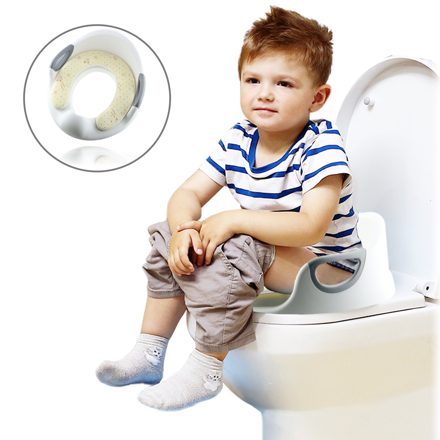 Potty Training Seat for Boys and Girls, Toilet Training Seat Toilet Seat Chair for Baby with Cushion Handle and Backrest Fits Round & Oval Toilets Sanmersen