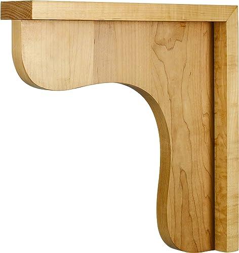 One 2-1 2 X 12 X 12 Traditional Wood Bar Bracket Corbel, Species Rubberwood