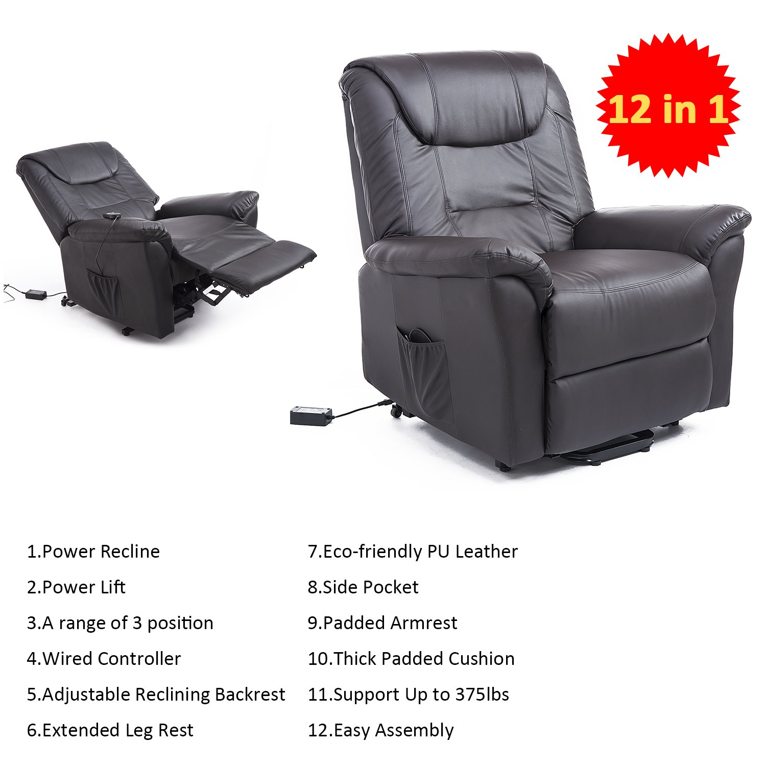 "Amazon Hom 42"" Infinite Position Electric Lift Chair"