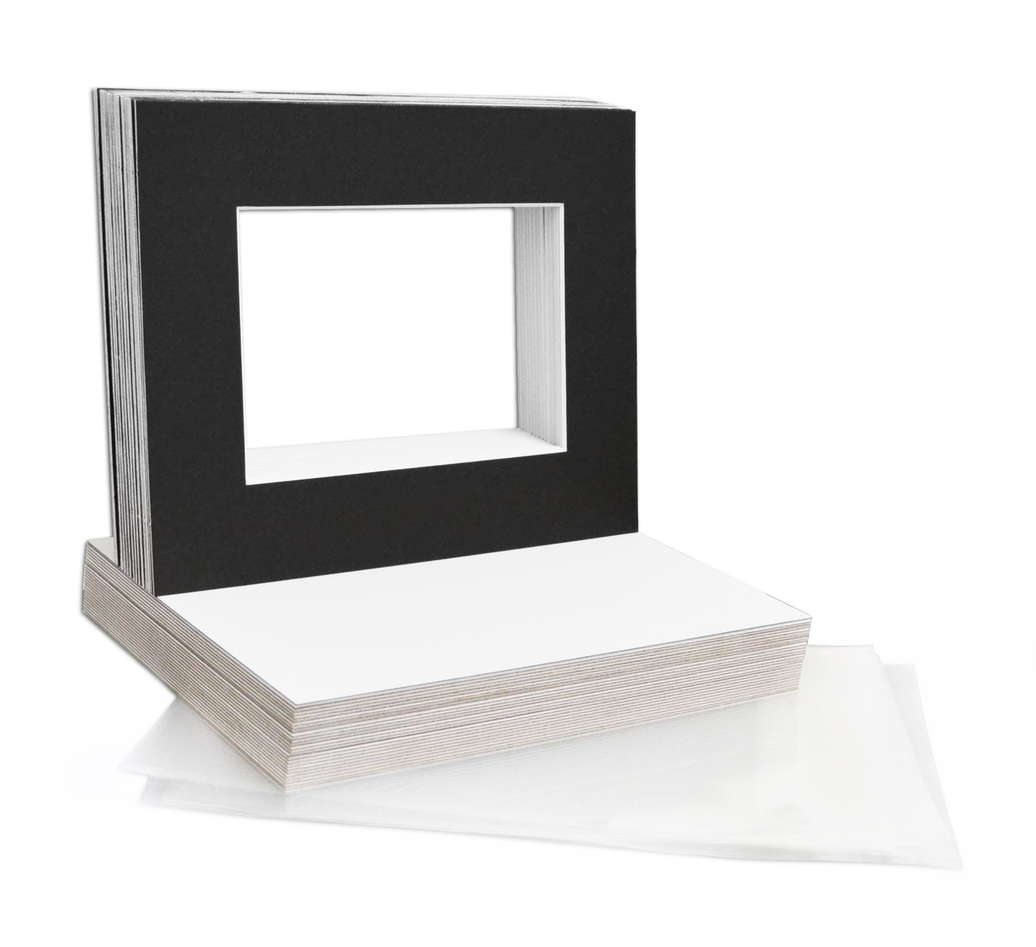 Mat Board Center, 8x10 Picture Mat Sets for 5x7 Photo. Includes a Pack of 50 White Core Bevel Pre-Cut White Core Matte & 50 Backing Board & 50 Clear Bags (Black) by MBC MAT BOARD CENTER
