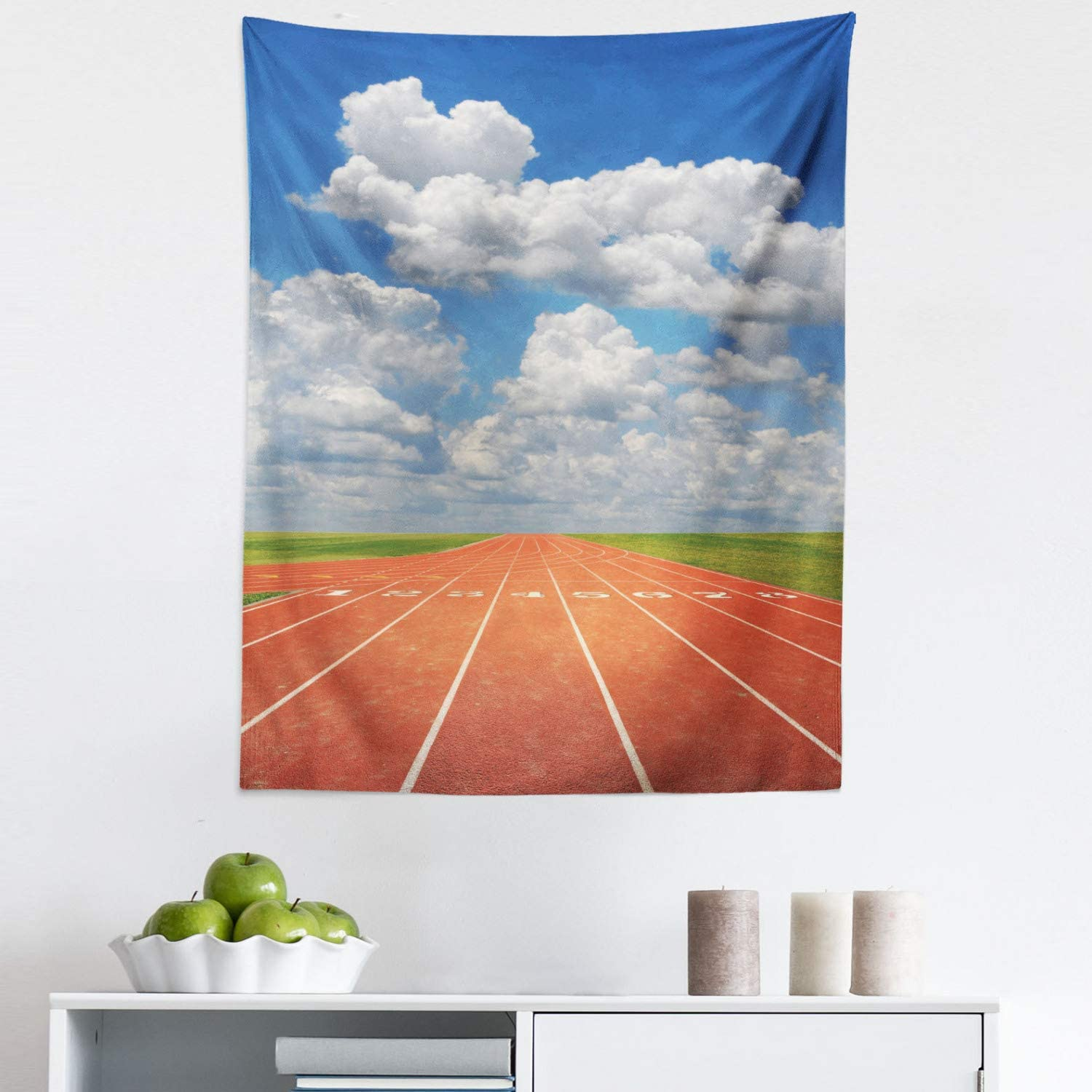 """Lunarable Olympics Tapestry, Sports Competition Running Track on a Sunny Day Lawn Grass Field Cloudy, Fabric Wall Hanging Decor for Bedroom Living Room Dorm, 23"""" X 28"""", Sky Blue"""