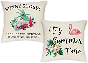 Vloso Summer Pillow Covers 18 x18 Inch, Set of 4 Flamingo Tropical Beach Decorative Throw Pillow Covers for Summer Home Decor