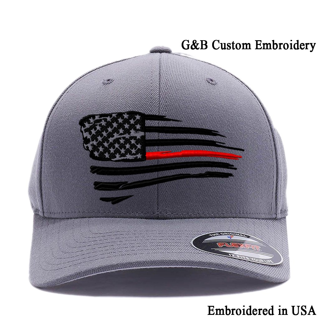 Flexfit Thin Red Line Waving USA Flag. Embroidered, 6477 Wool Blend Cap hat (L/XL Grey2)