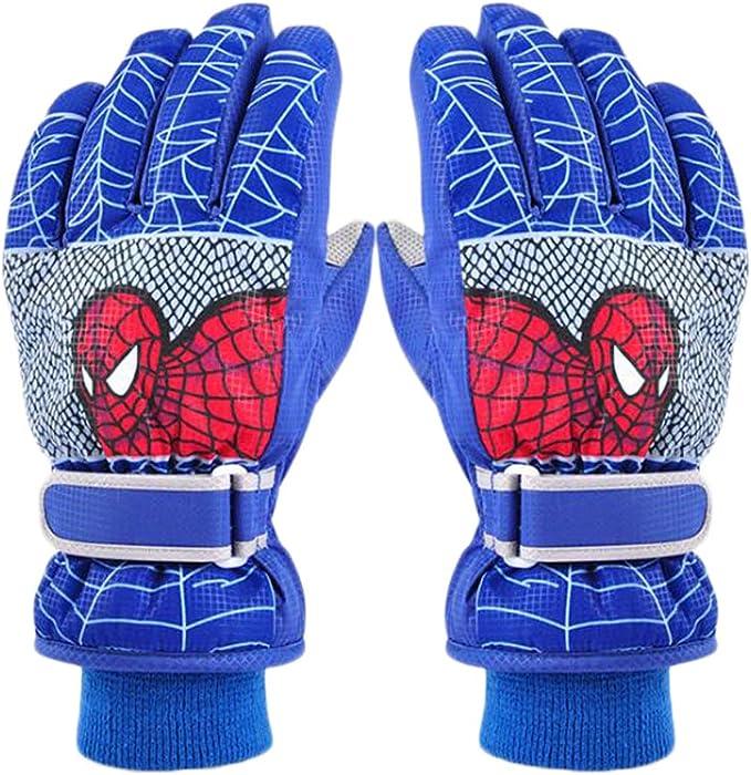 Boys Spider Skiing Gloves Winter Thicken Full Finger Fluffy Lining