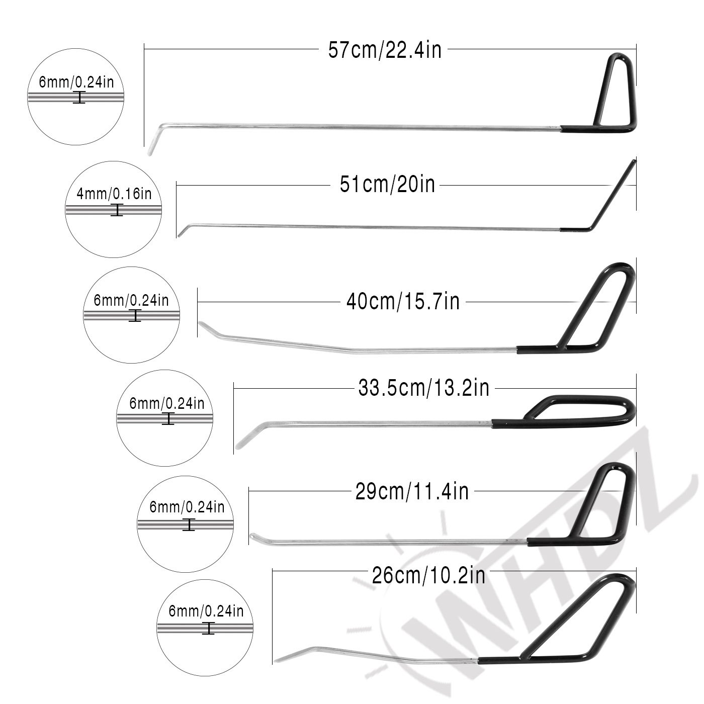 WHDZ Paintless Dent Repair Rods Auto Body Dent Removal Tools 10pcs Auto Car Body Paintless Dent Repair Dent Puller Dent Hammer Tap Down by WHDZ (Image #3)