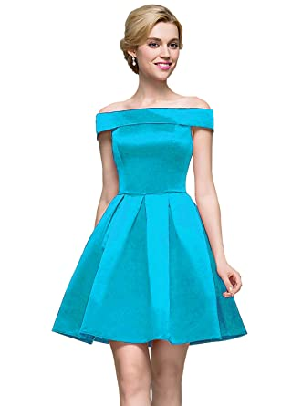 449d1e964db1 Women s Off Shoulder A Line Short Party Dress Satin Fornal Evening Cocktail  Prom Gown for Juniors