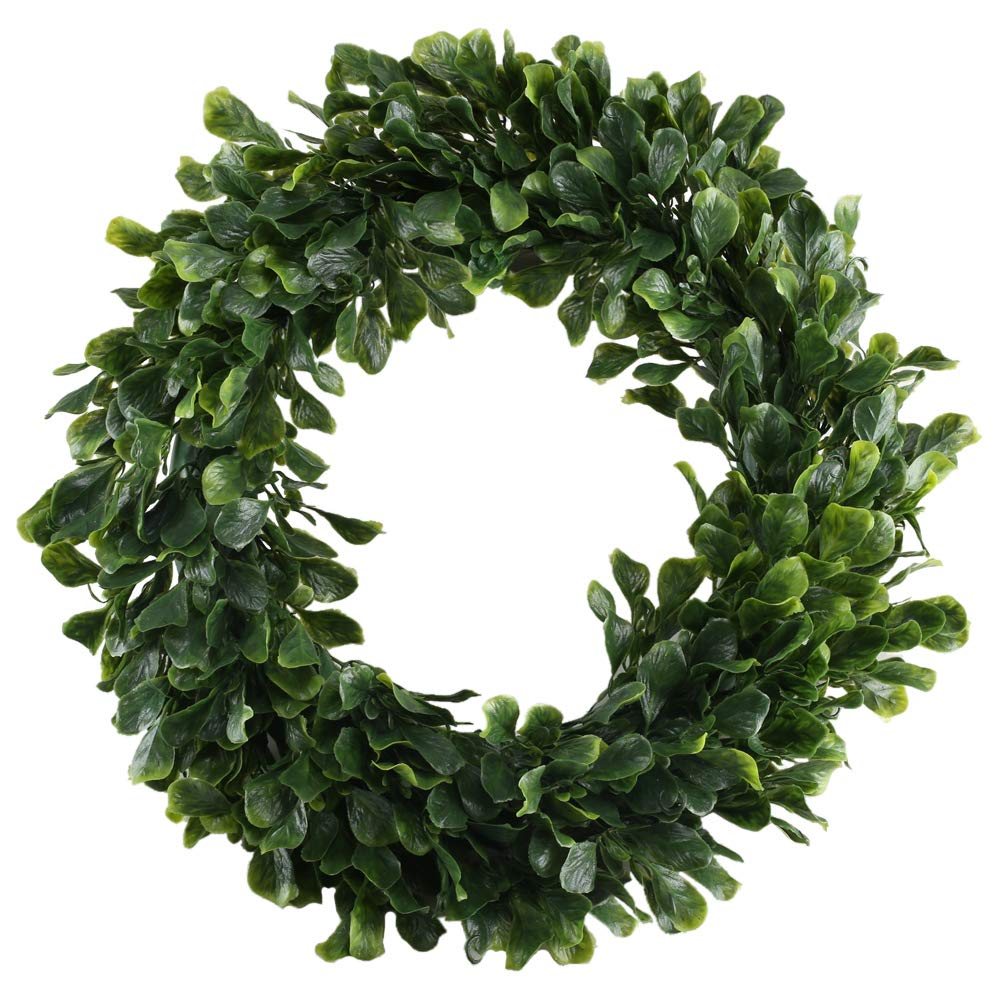 NAHUAA Artificial Boxwood Wreath, 16 inches Faux Greenery Wreath for Front Door Farmhouse Spring Home Office Housewarming Gift Easter Decorations by NAHUAA