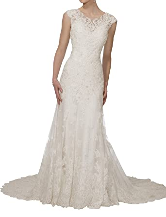 4bebf37aa944 Kevins Bridal Open Back Lace Mermaid Wedding Dress Long Wedding Gowns with  Train at Amazon Women's Clothing store: