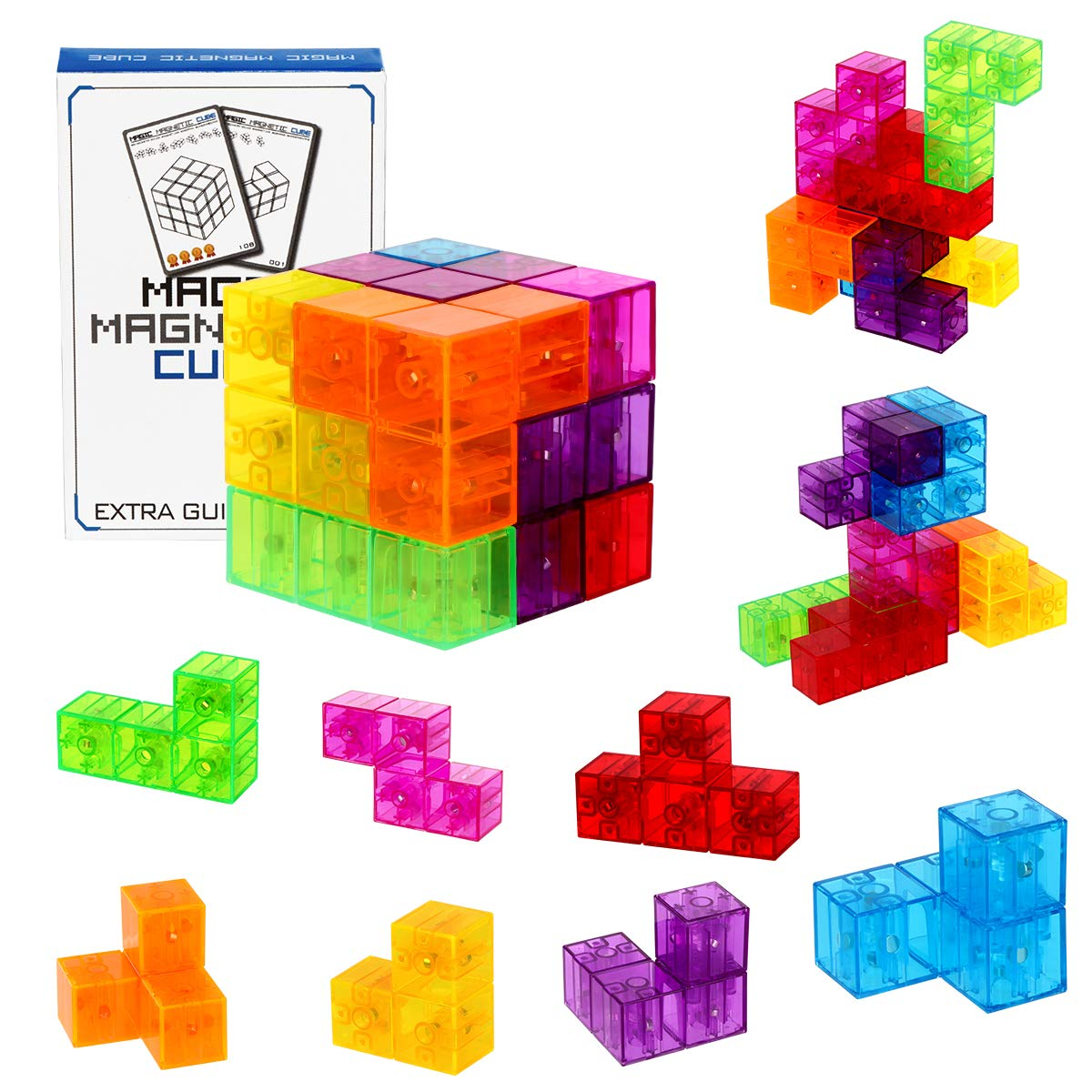 Magnetic Building Blocks Magic Magnetic 3D Puzzle Cubes, Set of 7 Multi Shapes Magnetic Blocks with 54 Guide Cards, Intelligence Developing and Stress Relief Fidget Toys by Dasdax