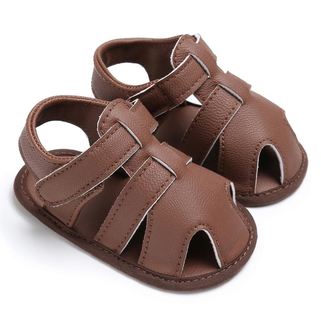 Newborn Shoes Sandals,Matoen Baby Toddler Boys Cute Crib T-tied Soft Sole Anti-Slip Shoes (Age:6~12 Month, Brown)