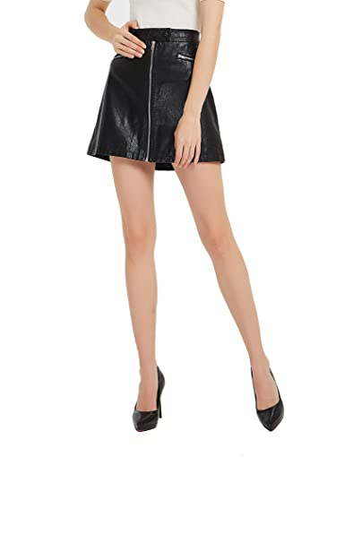 united states uk store detailed images Tronjori Womens PU Faux Leather A Line Short Mini Skirt ...