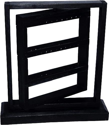 Expositor de pendientes de madera, diseño de torniquete, soporte artesanal, color negro: Amazon.es: Joyería