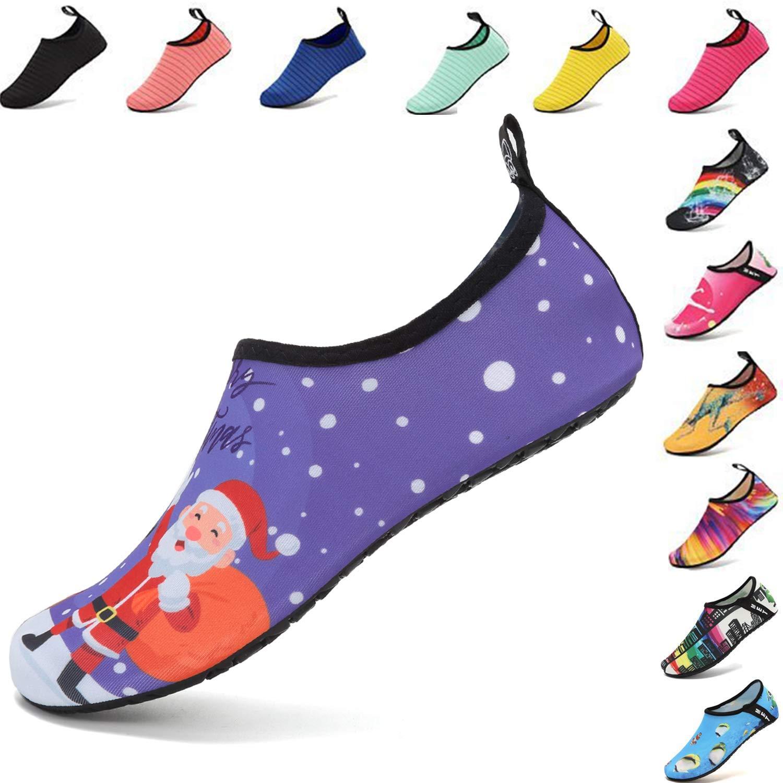 VIFUUR Water Sports Shoes Barefoot Quick-Dry Aqua Yoga Socks Slip-On for Men Women Kids Santa Claus-42-43