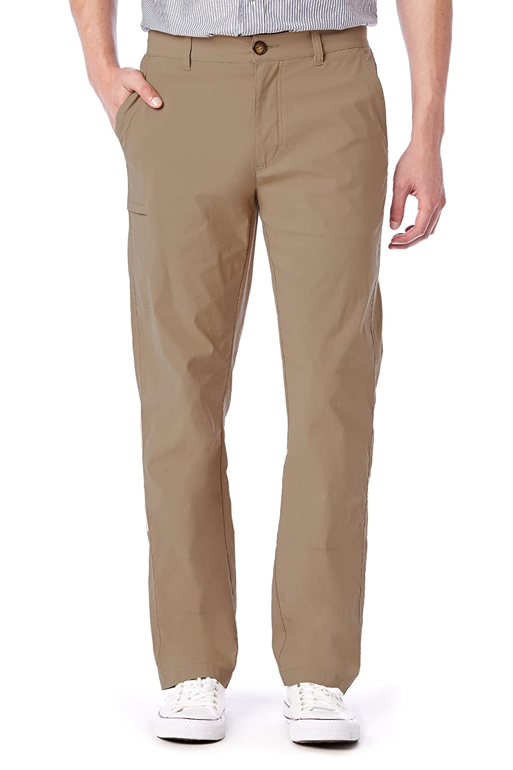 UB TECH Mens Comfort Waist Travel Chino Active Cargo Pants UPF 50 Water Repellent, 36W x 32L - Khaki Unionbay