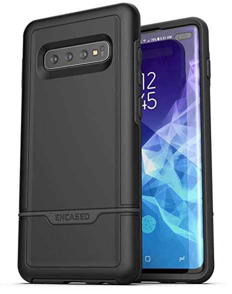 Encased Heavy Duty Galaxy S10 Plus Protective Case (2019 Rebel Armor) Military Grade Full Body Rugged Cover (Samsung Galaxy S10+) Black