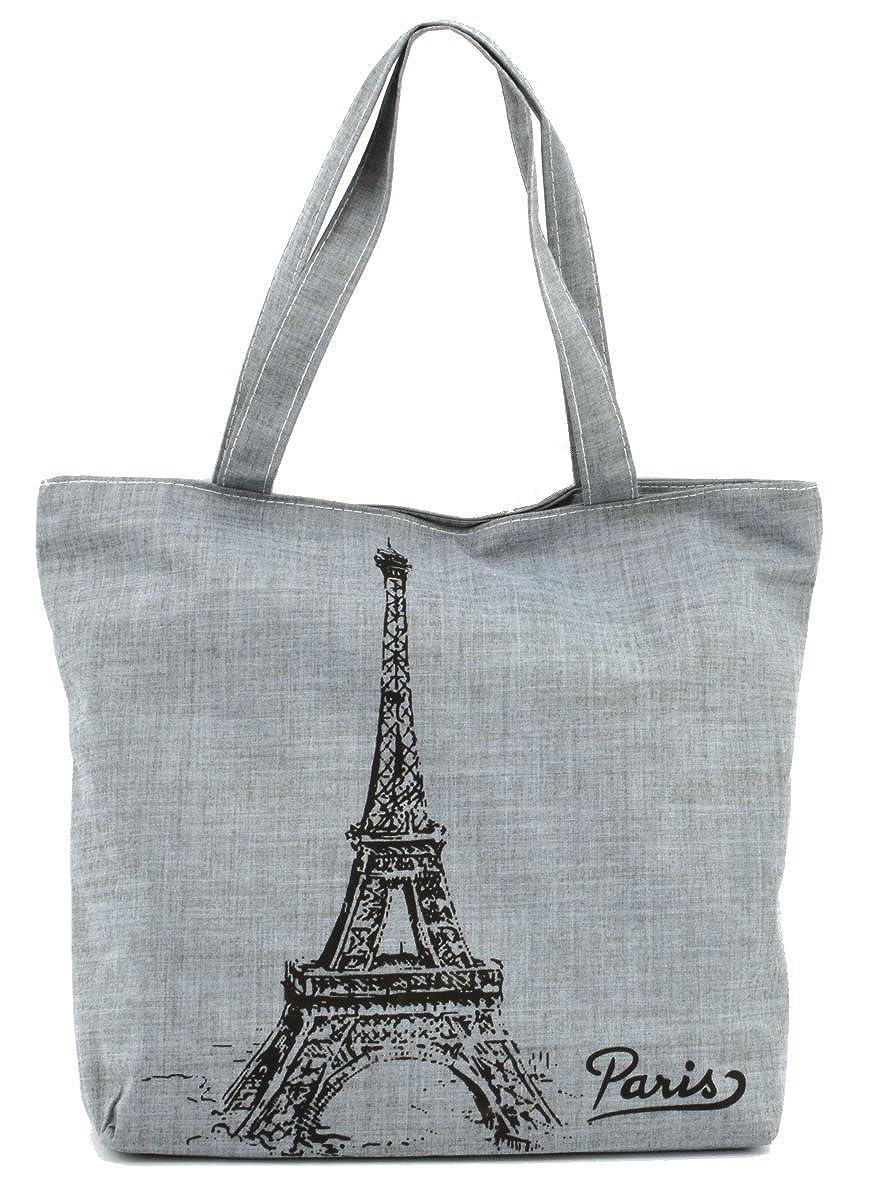 973d931b9611 LSW Eiffel Tower Canvas Shoulder Tote Bag