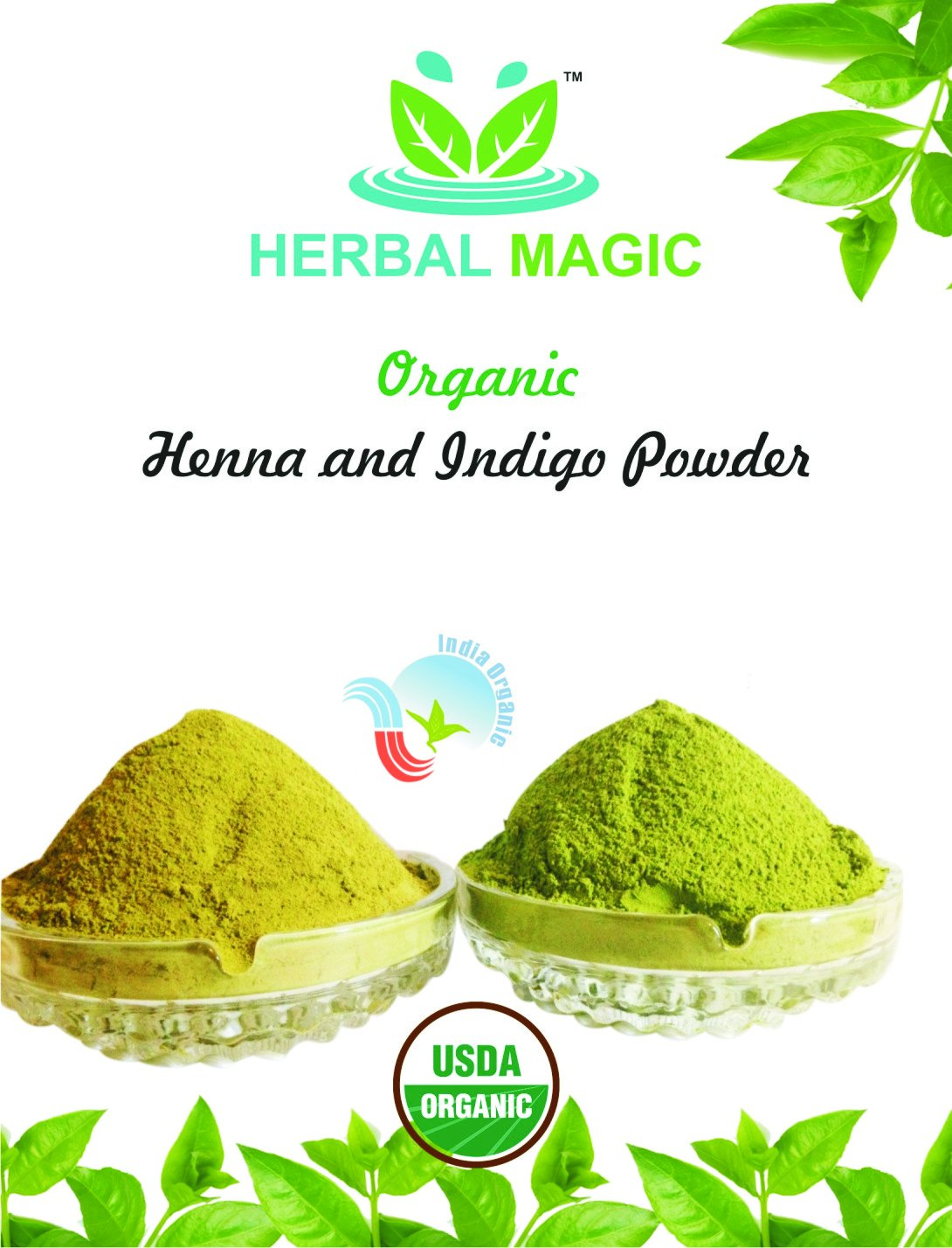 100% PURE & NATURAL 300G PURE HENNA POWDER + 300G PURE INDIGO POWDER / PURE HERBAL HAIR DYE, GO BLACK/BROWN NATURALLY-ONLY BY HERBAL MAGIC - USDA/GMP/HALAL/ISO CERT - 600G SUPPLY KIT NATURAL HAIR DYE GROWTH CONDITIONER ANTI HAIR LOSS DANDRUFF FREE SCA