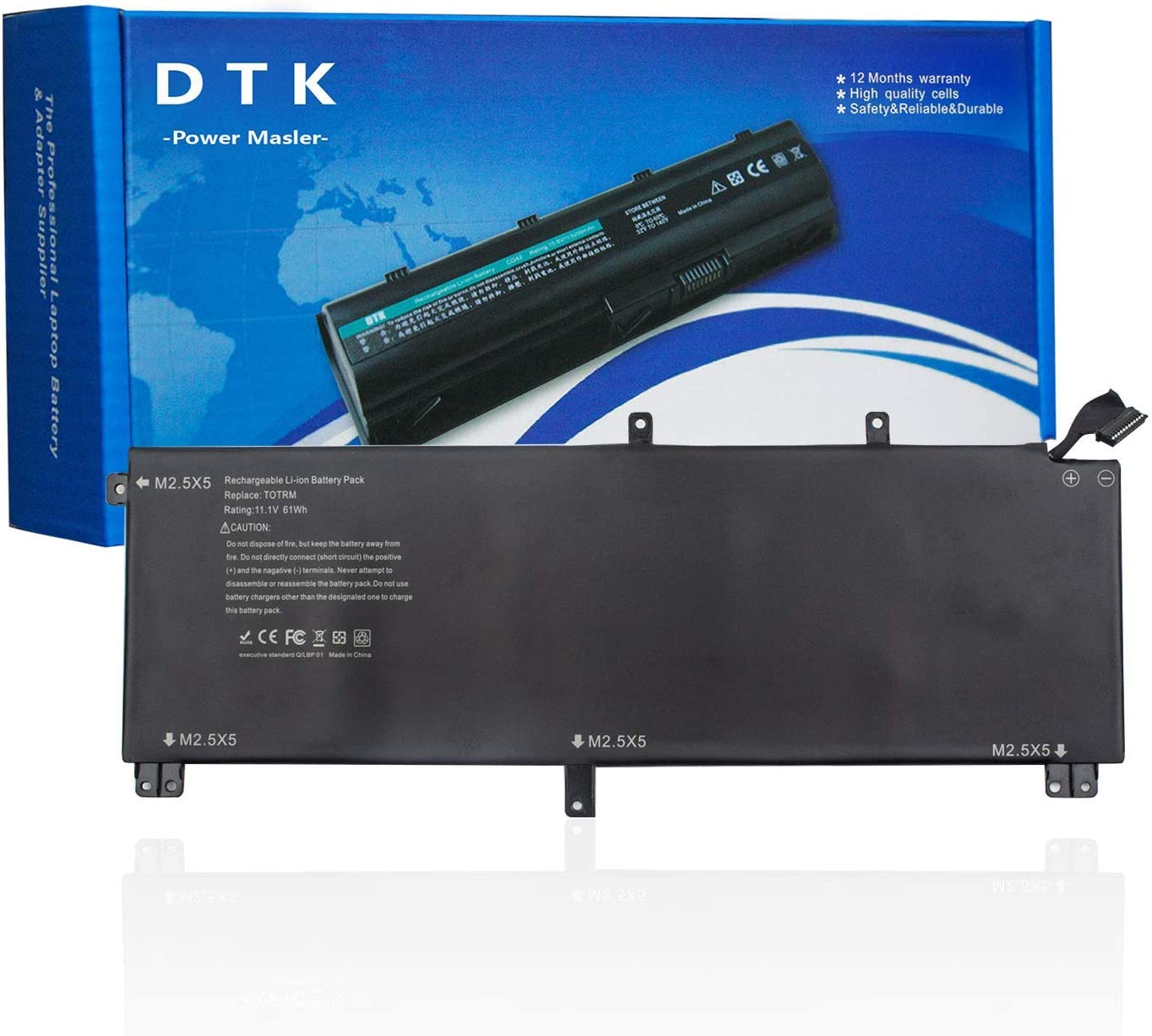 DTK 245RR Replacement Laptop Battery for Dell XPS 15 9530 Precision M3800 Series Notebook 0H76MY 701WJ 7D1WJ T0TRM Battery 11.1V 64Wh