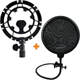 AUPHONIX Blue Yeti Shock Mount & Pop Filter - Easy to fit   Delivers Perfect Voice Clarity & Professional Vibration Blocking   Ideal for Gamers & Gaming, Voiceover Artists, Podcasts & Podcasting