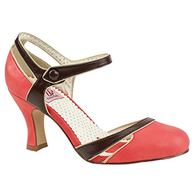Pin Up Couture Damen Two Tone Pumps mit Schnalle Flapper-27 salmon
