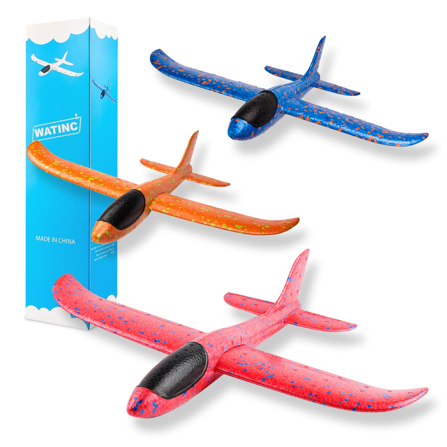 WATINC 3 pcs Airplane 14.5inch Manual Foam Flying Glider Planes Throwing Fun Challenging Games Outdoor Sports Toy Model Air Plane Two Flight Modes Blue Orange Red Aircraft for Boys Girls by WATINC