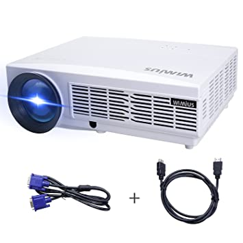Proyector Full HD, Proyectores LED 1080P Proyector Video 3300 Lúmenes WiMiUS T6 Projector LCD Home Cinema Contraste 3000:1-Blanco