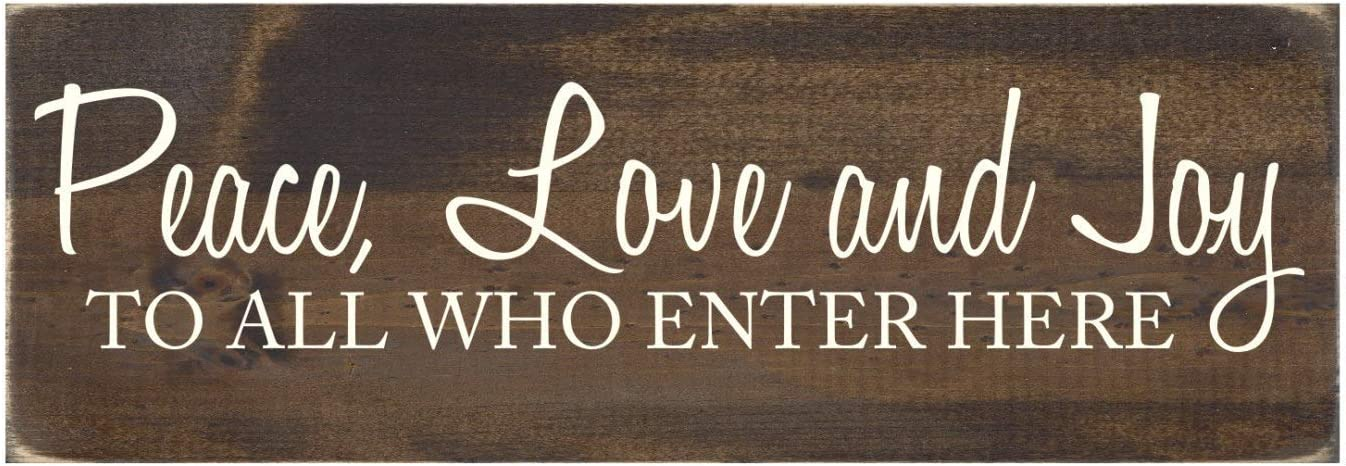 Jerome George New Sign Wood Sign with Quote Rustic Wall Decor - Peace Love and Joy to All Who Enter Here