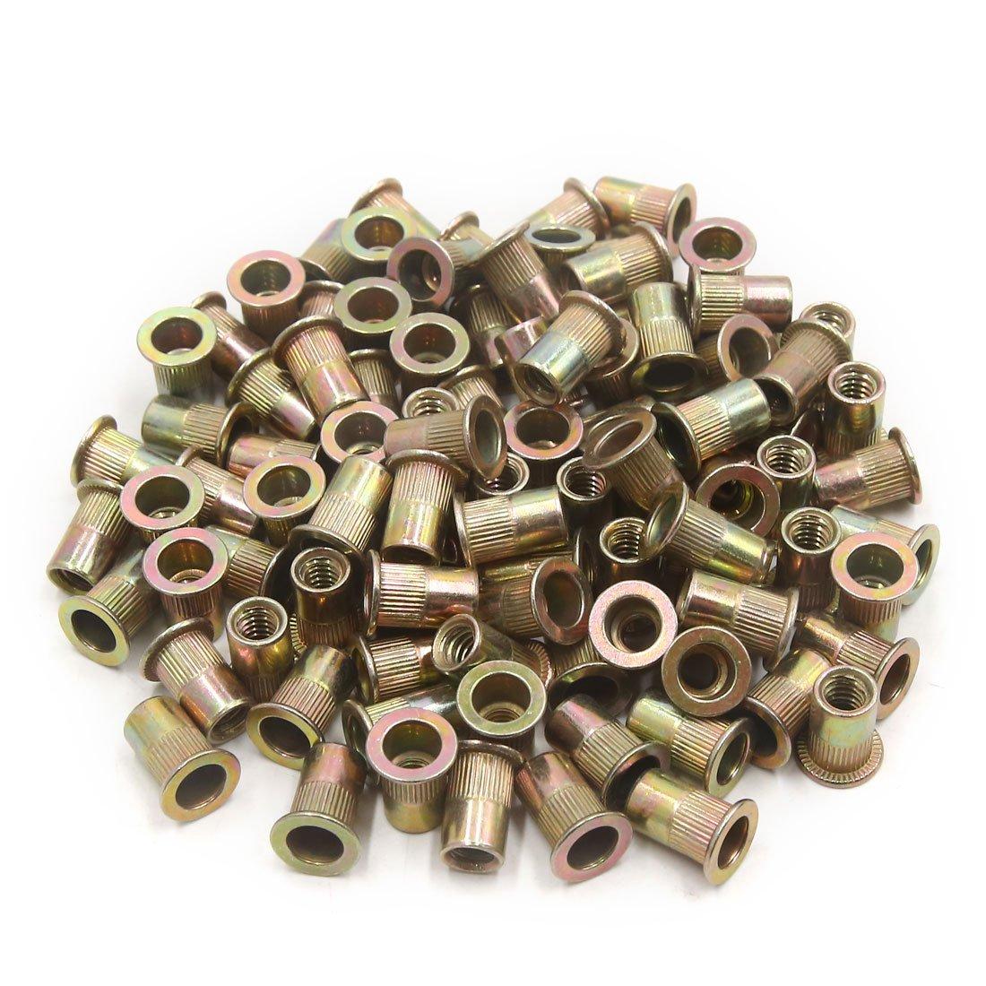 uxcell a17073100ux0532 100Pcs Zinc Plated Carbon Steel Car Rivet Nut Flat Head Threaded Insert Nutsert 1/4-20, 100 Pack