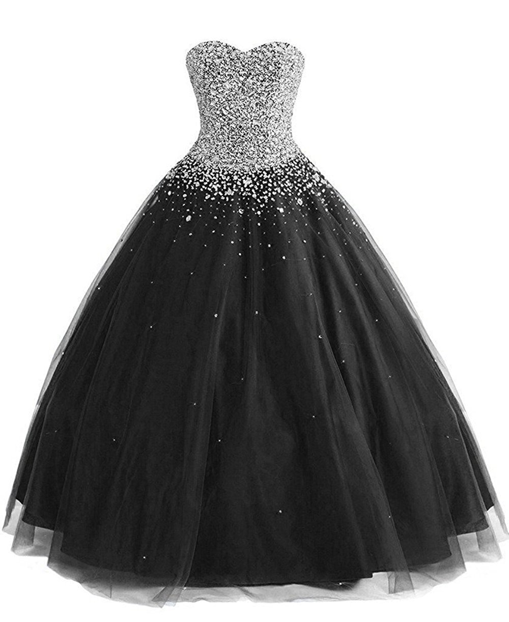 Meilishuo Women's Sweetheart Sparkly Beading Quinceanera Dresses Long 2017 Prom Party Ball Gown With Rhinestones