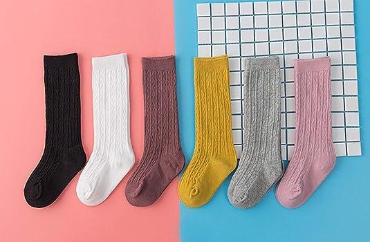 Kaariss Newborn Baby Girl Boy Toddler Cable Knit Knee High Cotton Socks 5 Pack