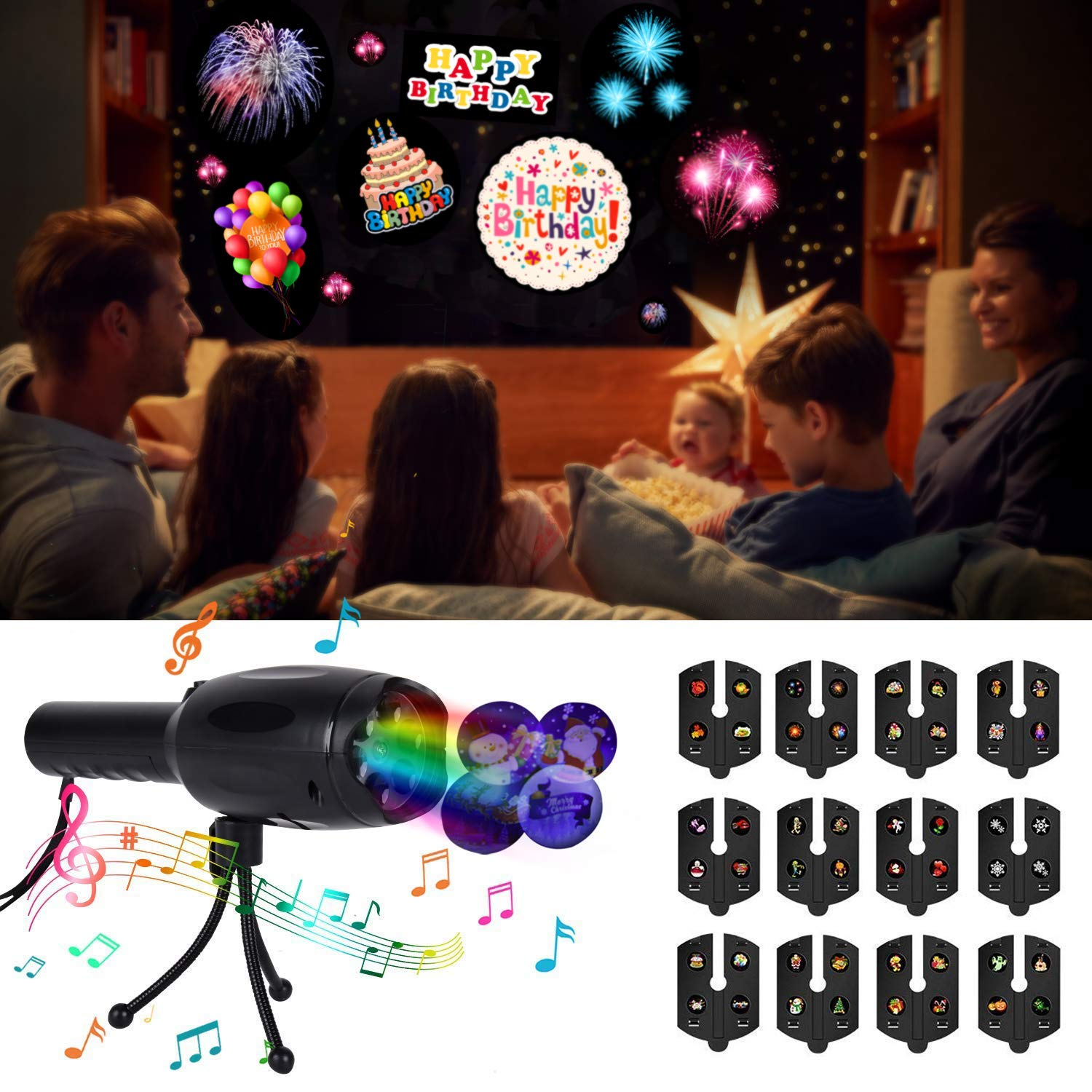 LED Projector Lights,Funpa Musical Handheld Holiday Room Light Projector Rechargeable Flashlight Decorative Portable Party Light with 12 Slides for New Year Birthday Festival Theme Party by FunPa