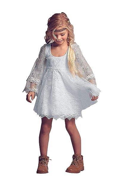 Amazon.com: Vestido de encaje para niña de color blanco con ...