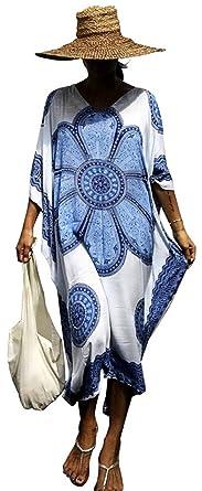 06c30356798f5 Ho Mall Bohemia Beachwear Ladies Summer Elegant Beach Poncho Ethnic Print  Loose Kaftan Smock Summer Maxi