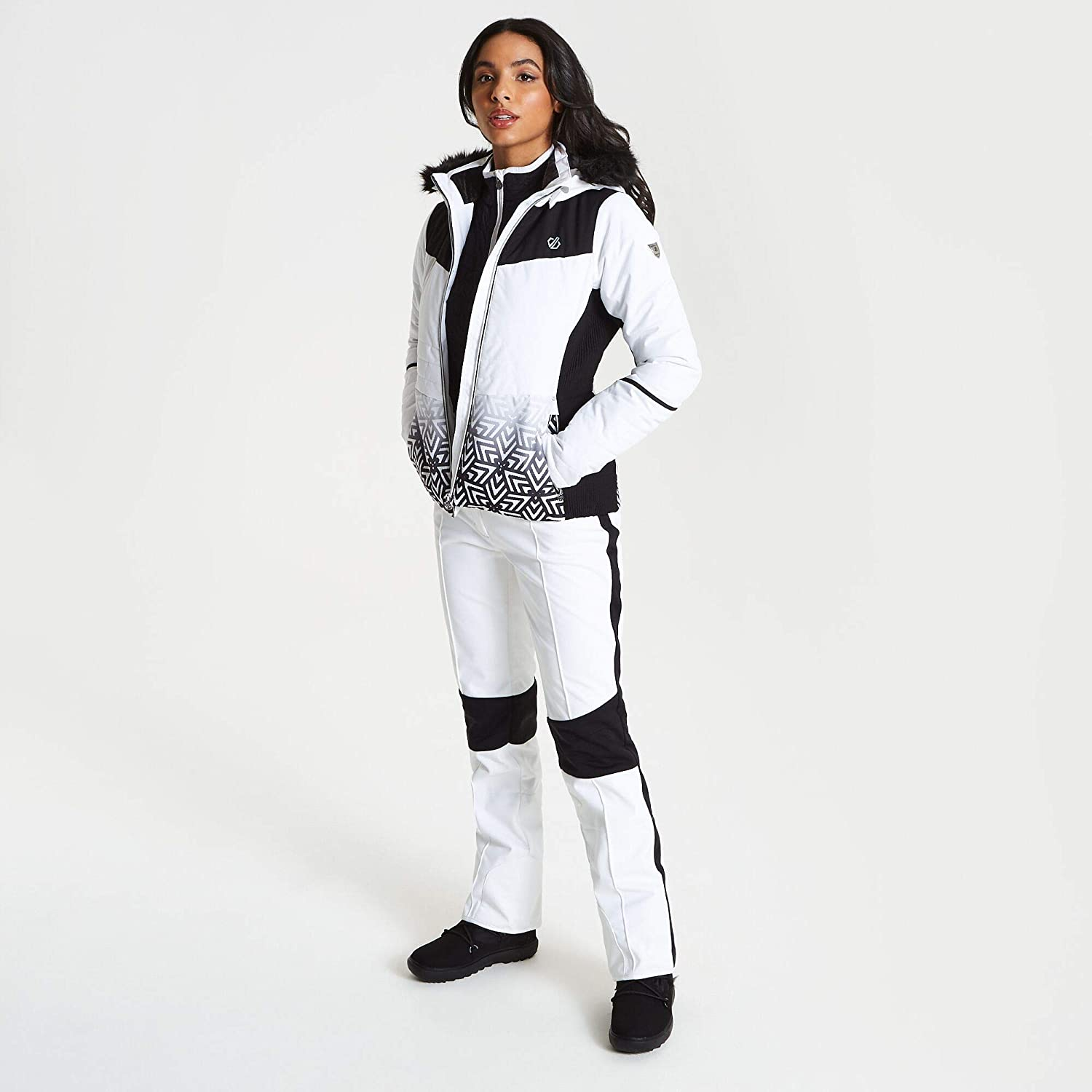 Giacca Impermeabile Dare 2B Iceglaze Waterproof /& Breathable High Loft Insulated Faux Fur Hooded Ski /& Snowboard Jacket with Detachable Snowskirt And Headphone Port Isolante Donna