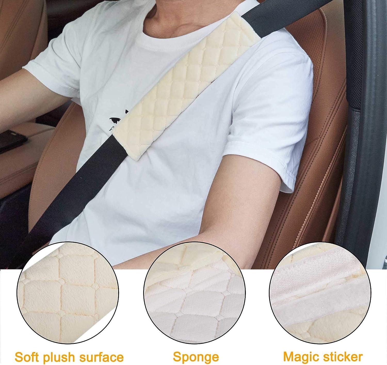 Car Seat Belt Pads Beige Atuka 4 Pack Car Seat Belt Covers SeatBelt Comfort Harness Pads Cover Safety Belt Strap Shoulder Pad for Adults and Children