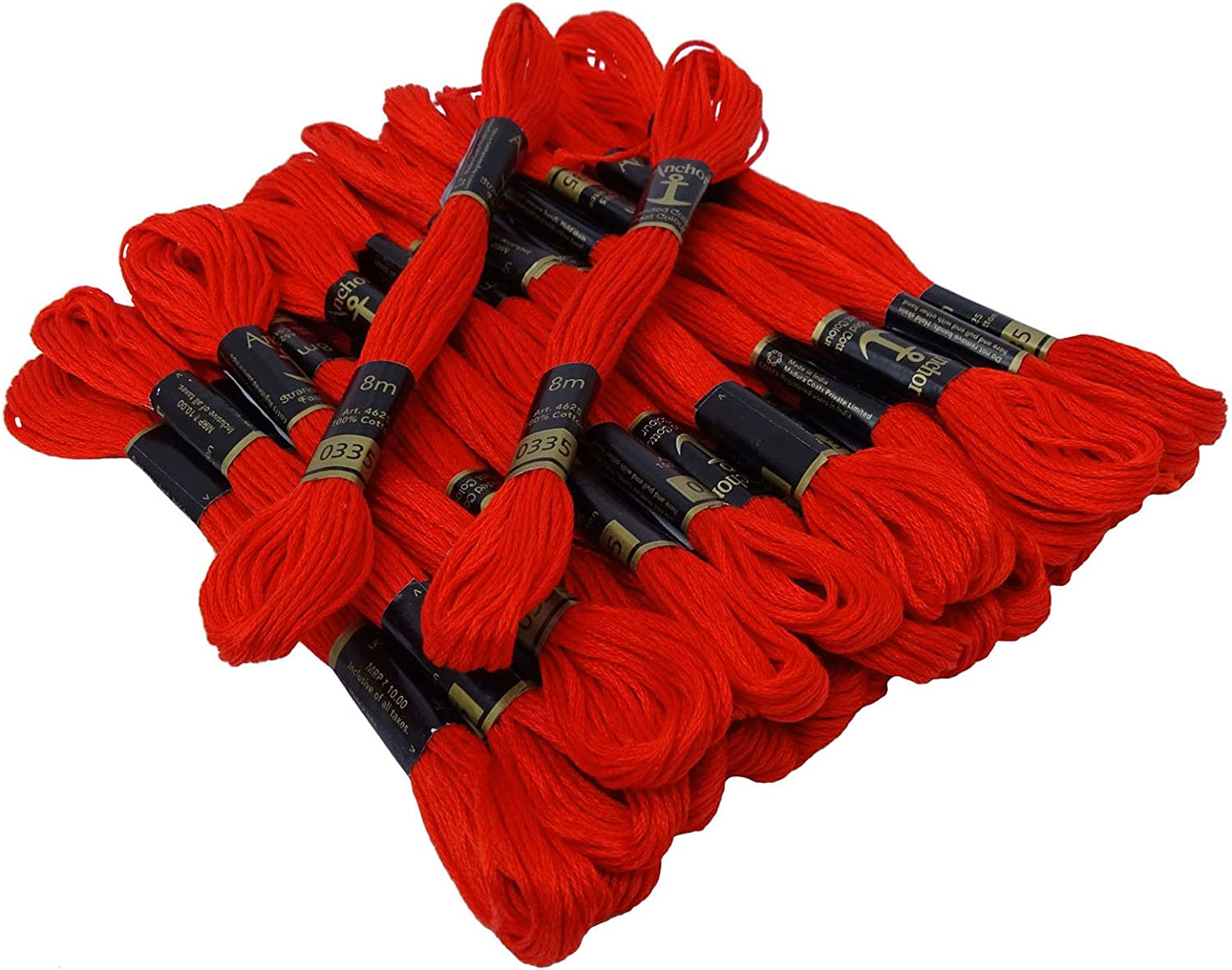 IBA Indianbeautifulart Stranded Cotton Cross Stitch Hand Embroidery Thread Floss Skeins-Red