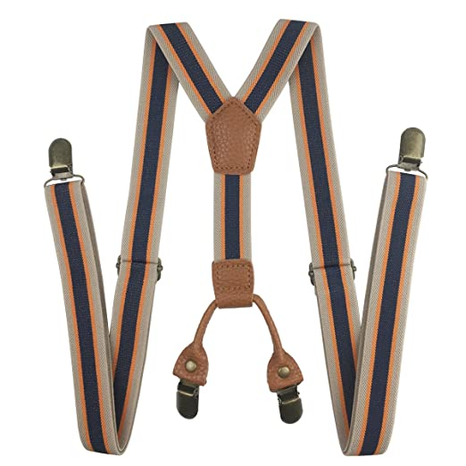 b9228618bc7 Stripe Suspenders 1 inch Width Polyester Elastic Suspender with 4 Copper  Clips (Khaki Navy