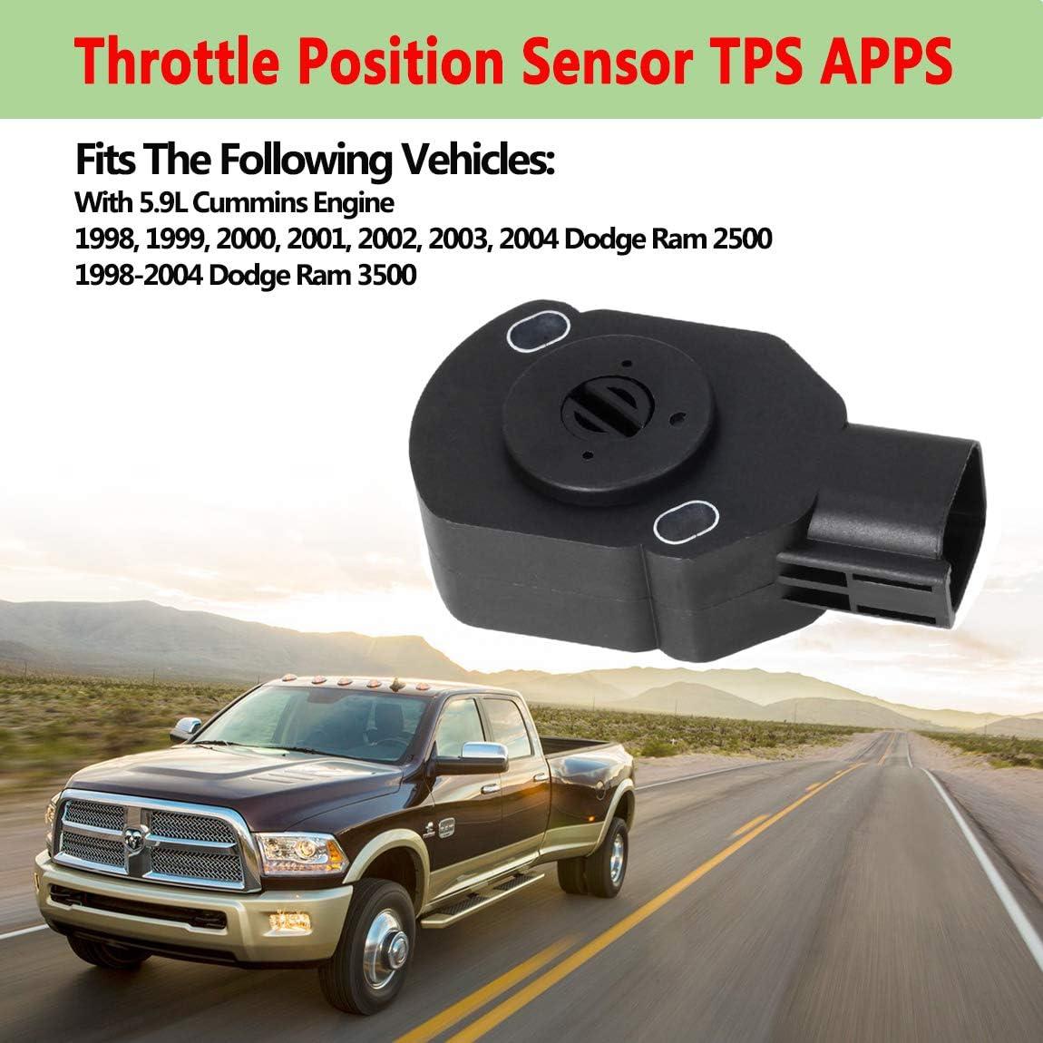 3970085 Throttle Position Sensor TPS APPS,Fit for 1998-2004 Dodge Ram 2500 3500,98-04 Cummins Diesel 5.9L Replacement 53031575,53031575AH,53031576,53031576AD,AP63427 Accelerator Pedal Position Sensor